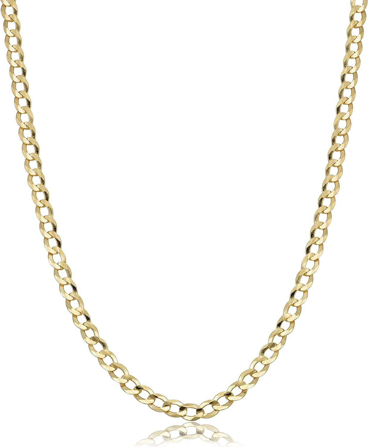 Authentic 10K Gold Cuban Curb Chain Link Necklace, 2MM 2.5MM Cuban Link Chain, Round Circle Gold Chain, 10 Karat Chains 10K Gold Chains, Gold Jewelry Men and Women 16-30
