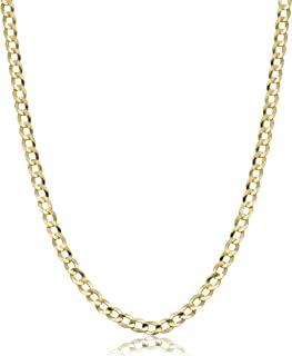 Authentic 10K Gold Cuban Curb Chain Link Necklace, 2MM 2.5MM Cuban Link Chain, Round Circle Gold Chain, 10 Karat Chains 10...