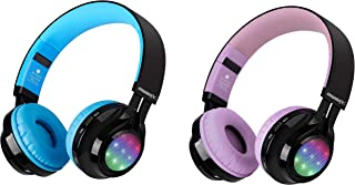 Kids Headphones, Riwbox AB005 Wireless Headphones Bundle 2 Packs with Mic Foldable Headsets with TF Card FM Radio and LED ... photo