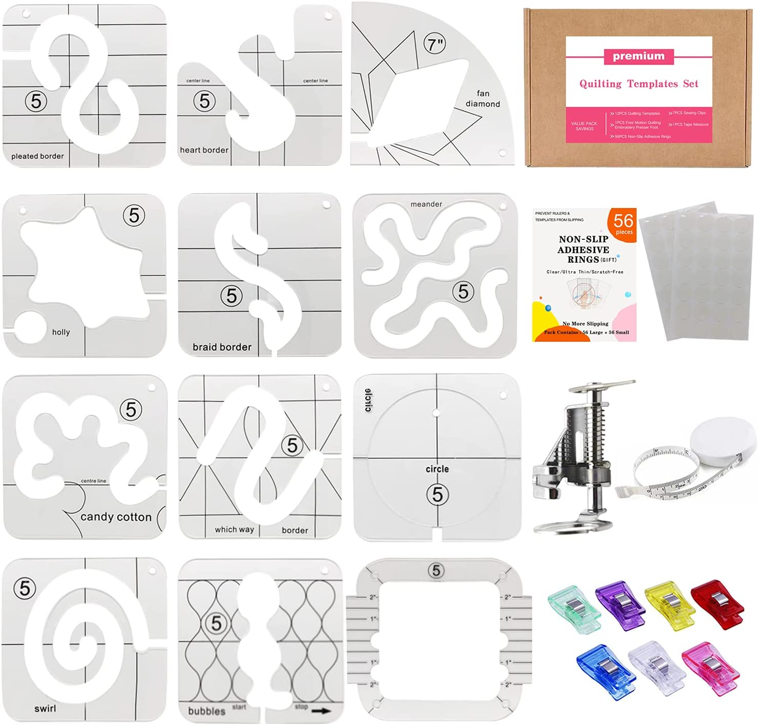 Quilting Templates Set for Domestic 11P Includes Sewing Machine San Free Shipping New Antonio Mall