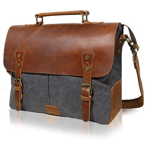 Lifewit 14-15.6 Inch Leather Satchel Messenger Laptop Shoulder Bag Canvas  Briefcase (14  27f889a31a467
