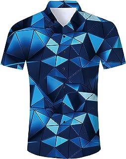 Fanient Mens Casual 3D Hawaii Printed Shirts Short Sleeve Button Down Graphic Aloha Shirts
