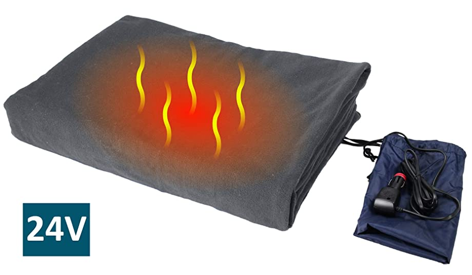"ObboMed SH-4214G Ultra-Soft Deluxe Electric 24V, 72W, Luxurious Comfy Polar Fleece Heated Truck Blanket, with Premium Cigarette Lighter Plug for for Truck, Van, Boat, Bus, Gray, Size 61"" x 41.3"""