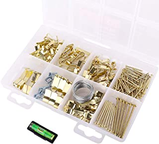 200pcs Picture Hanging kit - Picture Frames Wall mounting Decorating Assortment kit with Nails, Wire, Saw Tooth Hanger, Ring Hook and 5 Sizes of Heavy Picture Hangers Hold 10-100lbs
