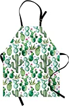 Ambesonne Green Apron, Mexican Texas Cactus Plants Spikes Cartoon Like Print, Unisex Kitchen Bib with Adjustable Neck for Cooking Gardening, Adult Size, White Green