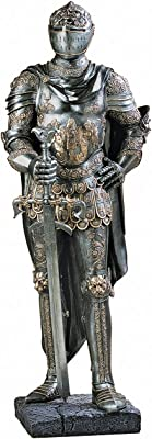 Design Toscano CL4256 The King's Guard Medieval Decor Half Scale Knight Armor Gothic Statue, 39 Inch, Polyresin, Two Tone Metallic,Pewter