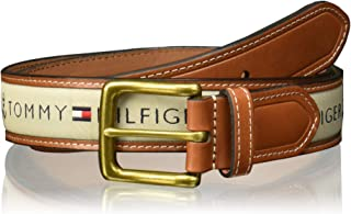 TOMMY HILFIGER 35MM WOVEN RIBBON INLAY W/LEATHER TAB & TIP 1 Cinturón para Hombre