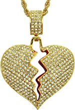 AOVR Men's Twist Chain 18k Gold Plated CZ Fully Iced-Out Broken Heart Pendant