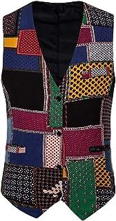 Macondoo Men's Basic Printed Sleeveless Single Breasted Waistcoat Tuxedo Vest