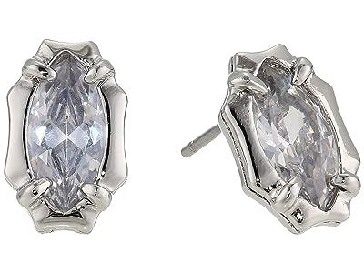 AllSaints Marquis Stone Stud Earrings (Rhodium) Earring