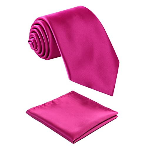 871744d7b34e Fortunatever Classical Mens Solid Color Neckties+Pocket Square,Handmade Tie  For Men With Gift