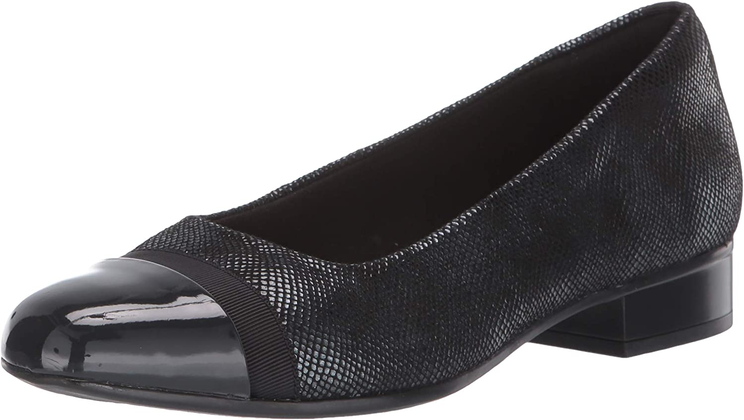 Clarks New product!! Women's Juliet Monte Brand Cheap Sale Venue Loafer Synthetic Print Black Suede