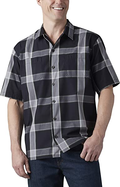 Dickies Camisa de campamento de manga corta teñida de hilo para hombre