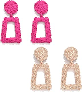 Hot Pink and Light Pink Two Toned Flower Earrings SALE
