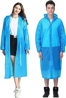 HLKZONE Raincoat, [2 Pack] Portable EVA Rain Coats Reusable Rain Poncho with Hood and Elastic Cuff Sleeves