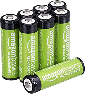 AmazonBasics AA Rechargeable Batteries (2000 mAh), Pre-charged – Pack of 8