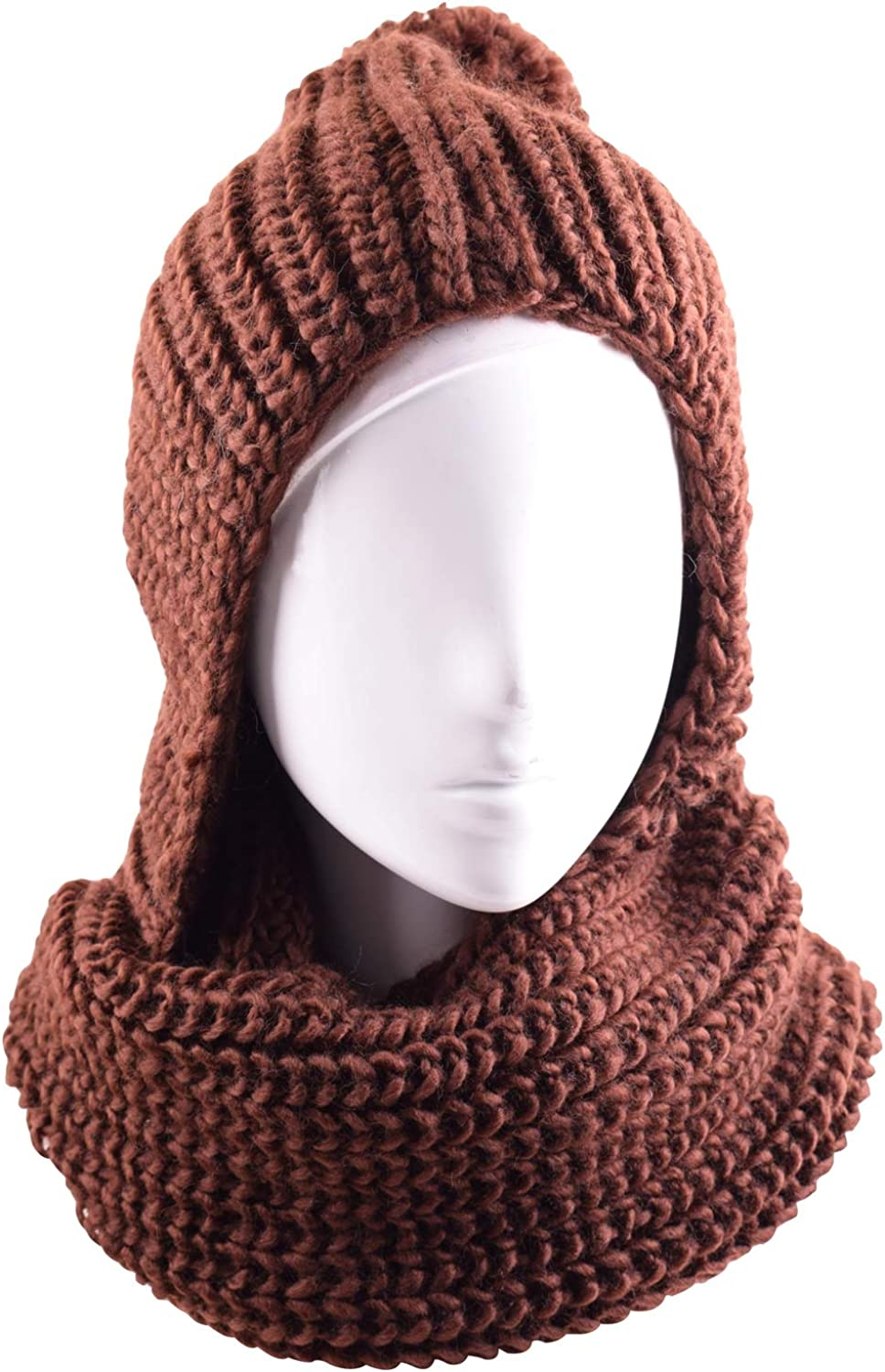 CEAJOO Women's Hood Infinity Scarfs Winter Hats Set Thick Warm Cable Knit