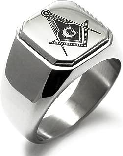 Stainless Steel Freemasons Masonic Royal Compass Symbol Square Flat Top Biker Style Polished Ring