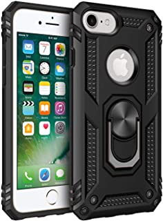 iPhone 6 6s iPhone 7 iPhone 8 Case, Extreme Protection Military Armor Dual Layer Protective Cover with 360 Degree Unbreakable Swivel Ring Kickstand for iPhone 6 6s and iPhone 7 8 Black