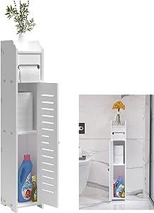 LuckyBond Small Bathroom Cabinet Storage Toilet Paper Storage Corner Floor Cabinet with Doors and Shelves,Bathroom Organizer Shelves,Toilet Paper Storage Container White