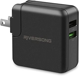 RIVERSONG USB Wall Charger, Dual Port QC3.0 Fast Charge 2.4A Power Adapter Foldable Plug Charging Block Cube for Phone Xs/XS Max/XR/X/8/8 Plus/7/6S/6S Plus, Samsung Galaxy Note 5/4, HTC, Android