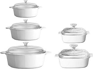 CorningWare 10 Piece Pyroceram Classic Round Casseroles (3.5 qt, 2.5 qt & 1.3 qt) Square (2 qt & 1 qt) Cooking Pots W/Hand...