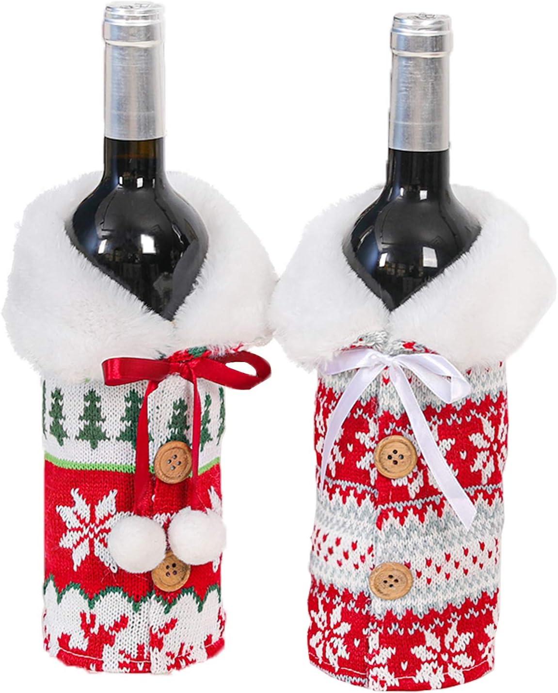 LABOTA 2 Piezas Cubierta de Botella de Vino de Navidad, Bolsas de Vino Tinto para Vestir Botella de Vino, Reutilizables para la Cena del Hogar Decoración de la Fiesta de la Mesa Adornos