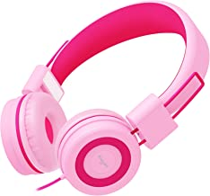 Elecder i37 Kids Headphones Children Girls Boys Teens Foldable Adjustable On Ear Headphones 3.5mm Jack Compatible iPad Cellphones Computer MP3/4 Kindle Airplane School Tablet Rose/Pink