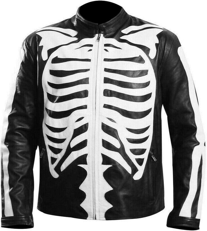 Halloween Cosplay Mens Skeleton Bones Black Leather Jacket - Cafe Racer Biker Skull Motorcycle Jacket