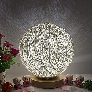 Lorenlli - Lámpara de noche con bola de ratán romántica con base de madera regulable, lámpara de noche para decoración de hogar, fiesta, boda, mesita de noche, para dormitorio