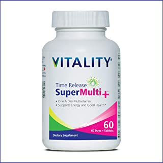 VITALITY Time Release Super Multi+   Multivitamin   Supports Healthy Hair, Skin and Nails   60 Tablets