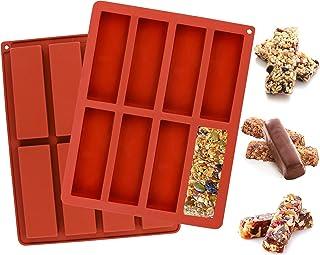 Webake chocolat céréales granola barres énergétiques moule 2 pack 8 cavités grand moule en silicone rectangulaire pour muf...