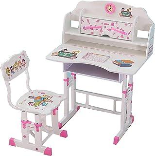 Zhyaj Los escritorios, mesas de Estudio para niños y sillas de Escritorio ergonomía Estudiantes Escritorio con Silla - Mesa Altura de Lectura Ajustable Silla de Oficina,Rosado