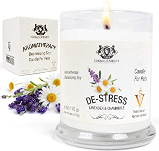 Lavender & Chamomile Aromatherapy Deodorizing Soy Candle for Pets, Pet Odor Eliminator & Animal Lover Gift ...