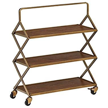 Amazon Brand – Rivet Mid-Century Modern Wood and Metal 3-Tiered Kitchen Bar Cart with Wheels, 27.9 W, Natural and Gold Finish