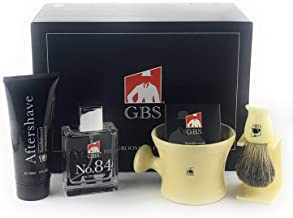 GBS Premium Men's Wet Grooming Shaving Set-Gift Boxed-Ceramic Ivory Shaving Mug with Knob Handle, Pure Badger Hair Brush + Stand, Sandalwood Shave Soap, No.84 Cologne, and Sandalwood Aftershave!