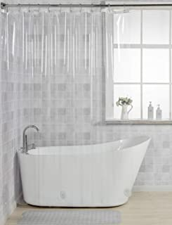AmazerBath 12 Gauge Heavy Duty Crystal Clear Thick Shower Curtain Liner with Heavy Duty Clear Stones and 12 Rust-Resistant Grommet Holes Waterproof Bathroom Plastic Shower Curtain Liner-72 W x 72