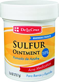 De La Cruz 10% Sulfur Ointment Acne Medication, Allergy-tested, No Preservatives, Fragrances or Dyes, Made In Usa 2.6 Oz