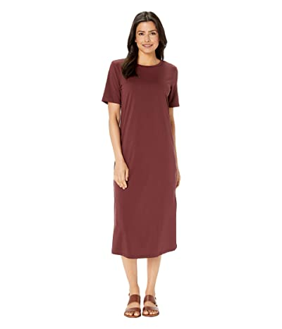 American Rose Rylee Short Sleeve Dress (Burgundy) Women