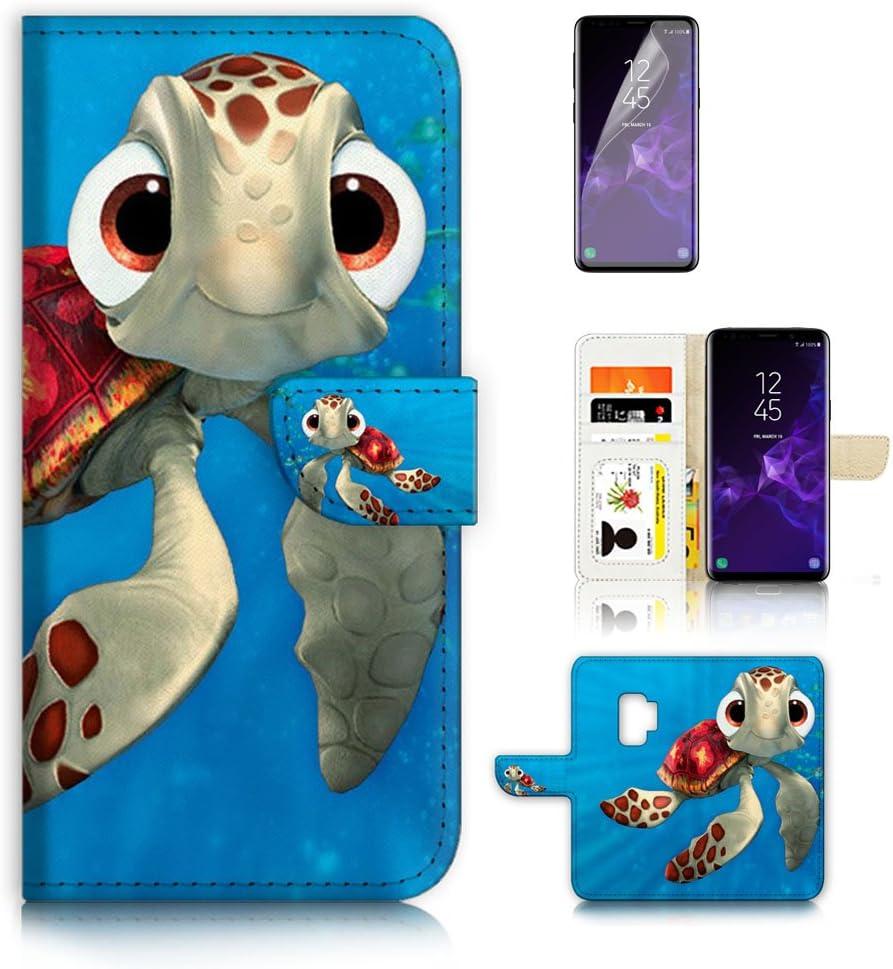 (for Samsung S9+ / Galaxy S9 Plus) Flip Wallet Case Cover & Screen Protector Bundle - A21273 Cartoon Turtle