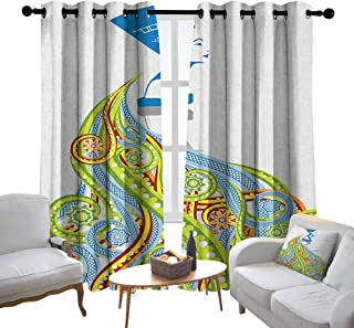 Lewis Coleridge Blackout Curtains for Bedroom Egyptian,Contemporary Illustration of Ancient Egyptian Woman Pharaoh with Her Crown Queen, Multicolor,Darkening Grommet Window Curtain-Set of 2 120