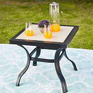 LOKATSE HOME Outdoor Patio Bistro Square End Dining Tile Top Metal Legs, Small-Table