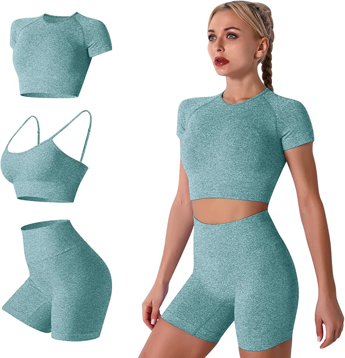 Women Seamless Yoga Outfits 2 Piece Workout Short Sleeve Crop Top with High Waisted Running Shorts Sets Activewear at  Women's Clothing store