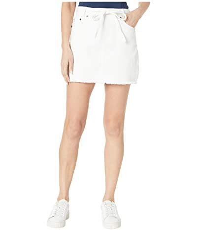 BB Dakota Denim Skirt with Tie Belt (Optic White) Women