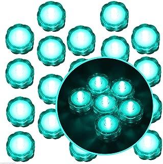 Moondon 20 Pcs Turquoise Submersible Waterproof Underwater Battery LED Tea Light Wedding