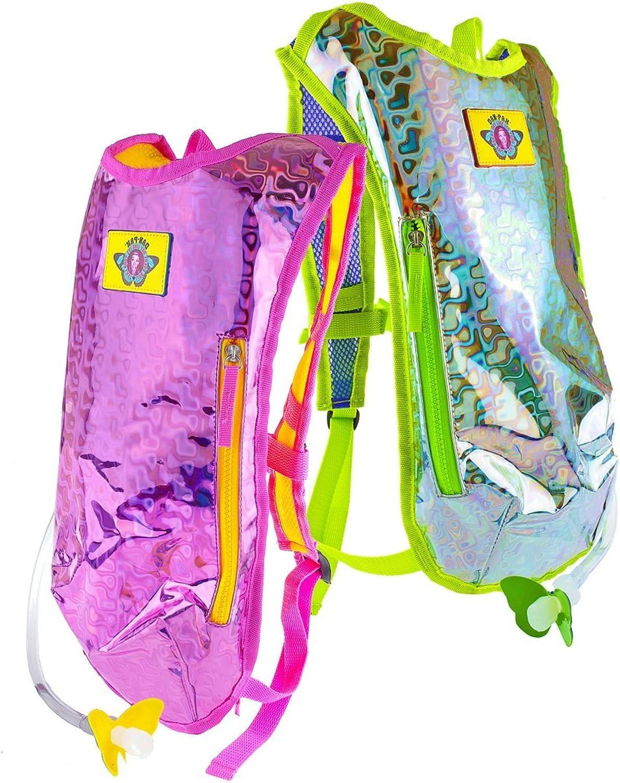 DanPak Hydration Pack Retro Raver 2 Pack   Retro Raver Pink and Retro Raver Silver Pink Yellow and Silver Green Holographic Backpack