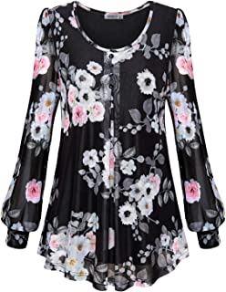 MOQIVGI Womens Long Sleeve Scoop Neck Button Trim Pleated Layered Floral Blouse Tops
