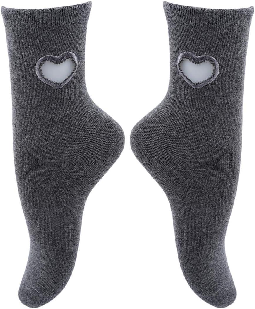 Rurah Womens Socks Ladies Solid Comfortable Cotton Stocking Love Heart Winter Warm Anti-Slip Casual Socks,Gray