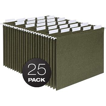 Pendaflex Hanging File Folders, Letter Size, Standard Green, 1/5-Cut Adjustable Tabs, 25 Per Box (81602)