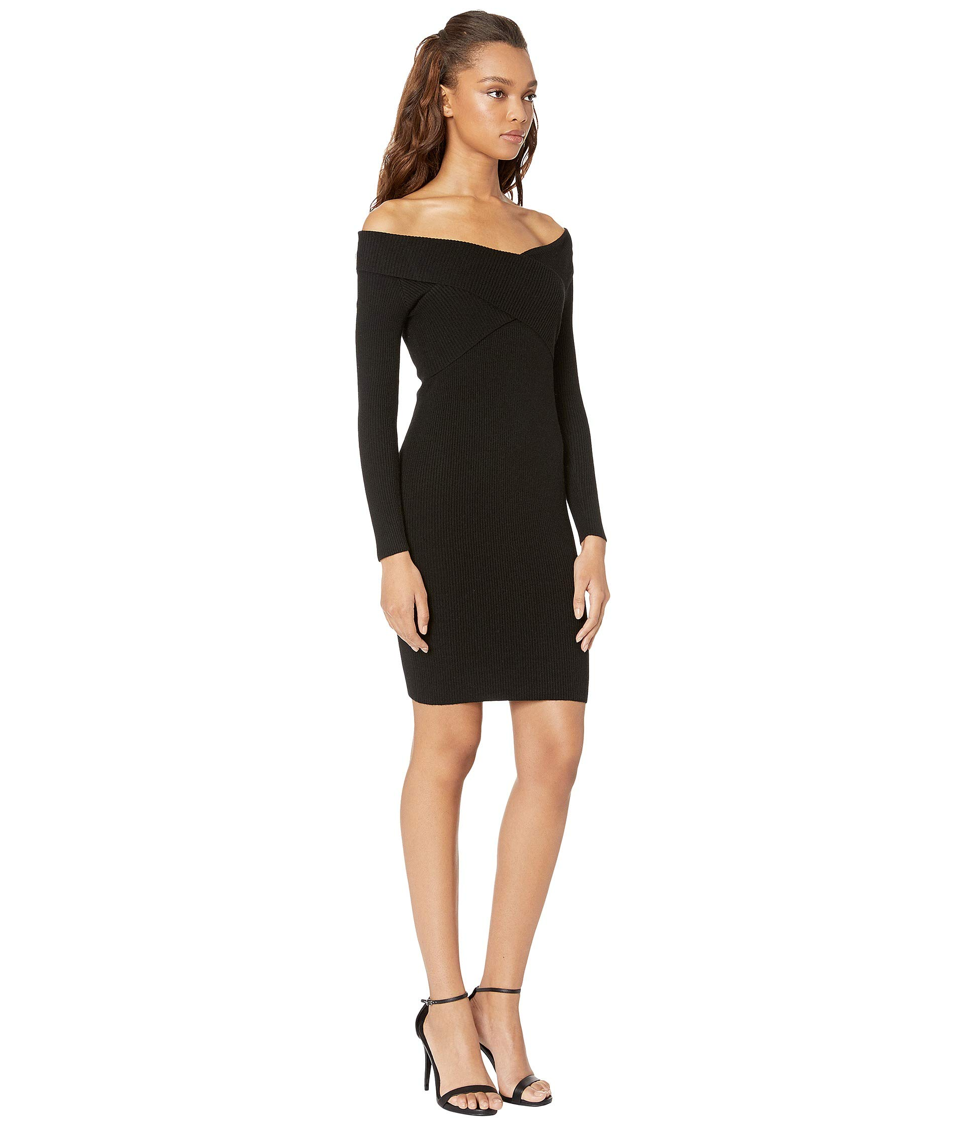 Off a Dress J The o Black Sleeve Long Knit Shoulder 5EPqxfw8F